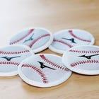 COASTER 捕手的保护器的材料是杯垫。 球型5个  #mizuno #MIZUNO_BASEBALL #protector #coaster #ball