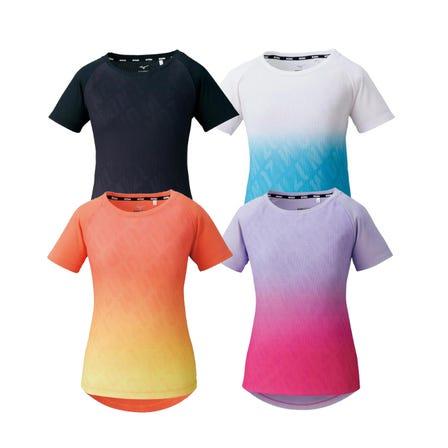 GRAPHIC T-SHIRT 그래픽 MIZUNO 로고와 그라데이션이 특징 드라이 에어로 흐름 T 셔츠.  #mizuno #tshirt #for_women #training