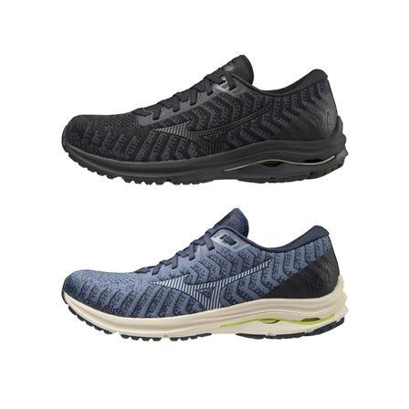 """WAVE RIDER 24 WAVE KNIT / RUNNING SHOES """"부드러운""""주행 어디 까지나. MIZUNO ENERZY과 MIZUNO WAVE 탑재. 니트 어퍼 신었을 때의 감촉도 부드럽고.  #mizuno #wave_rider #knit #MIZUNO_ENERZY #runnning #runnning_shoes #for_men"""