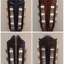 【国産手工クラシックギター】<br /> ヘッドの形やデザインはいたってシンプルです。そのシンプルさ故に長くご愛用いただけるものが多いです。製作家によってはヘッド部分に彫刻を施したものもあります。
