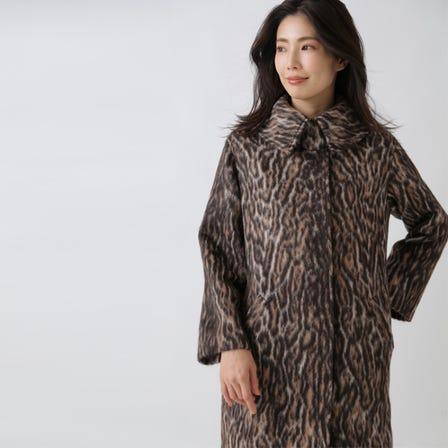 동물 무늬 샤기 코트
