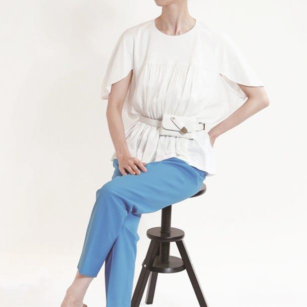 [Hand washable] Gathered drape pullover