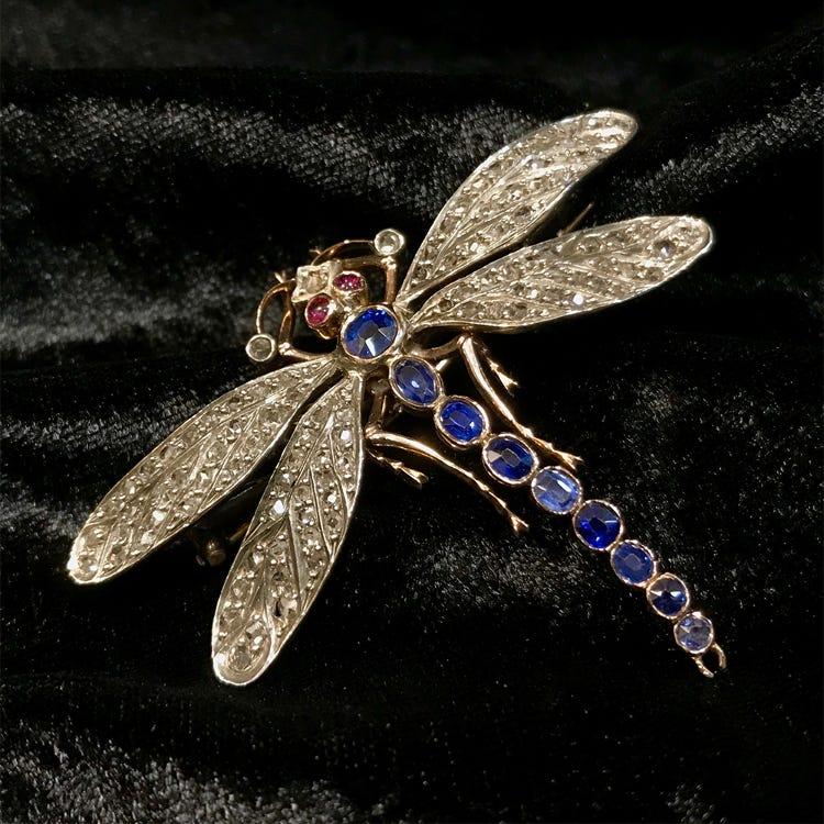 sapphire diamond victorian brooch
