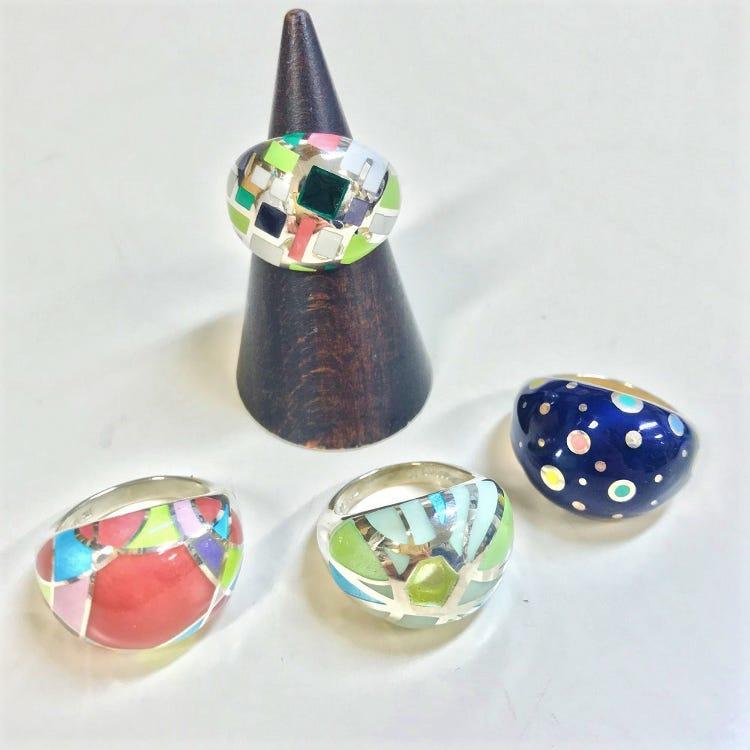 「東京圓寶石狀戒指」七寶燒戒指 日本製