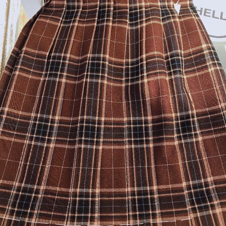 Red × Blue Check Skirt