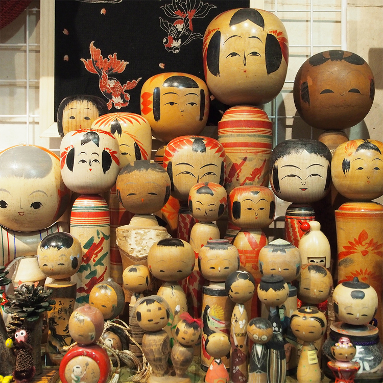 Antique kokeshi dolls