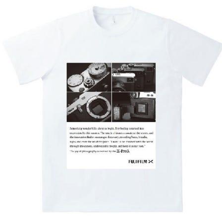 富士フイルムイメージングプラザ限定グッズにX-Pro3柄プリントTシャツが新登場!発売開始3/16以降を予定<br /> カラー ホワイト サイズ M、L、XL 素材 綿100%