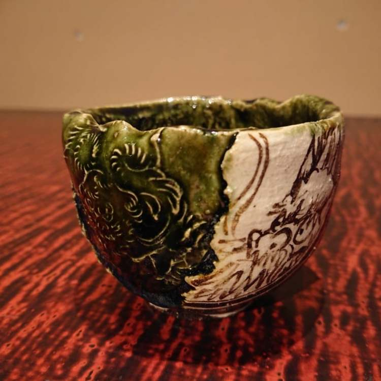 Oribe large sake cup(Dragon)