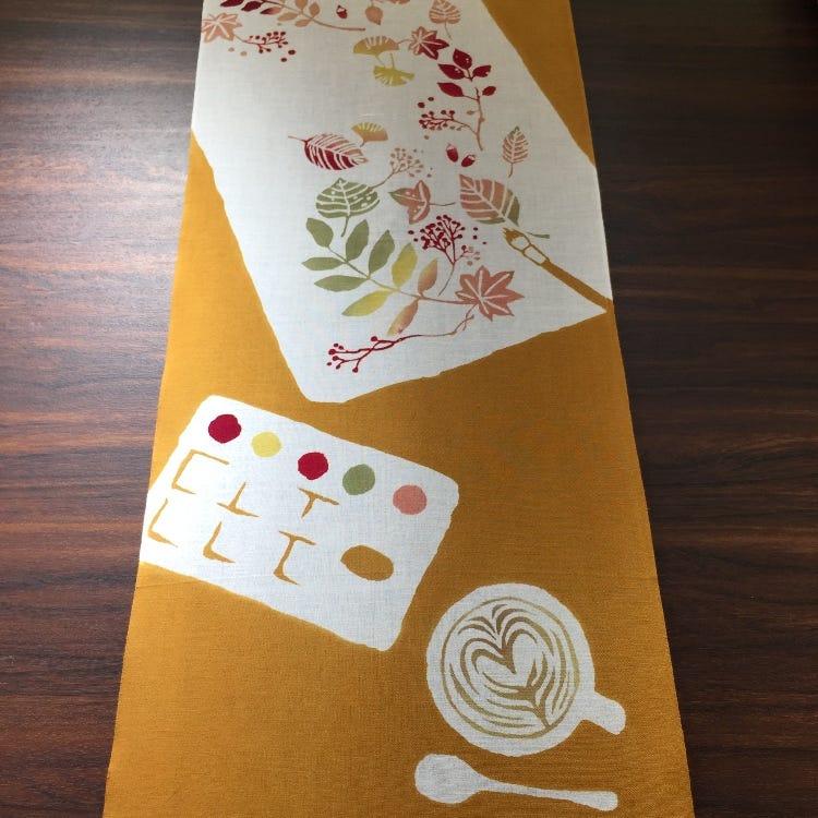 Hand-dyed Chusen Hand Towel - An autumn canvas