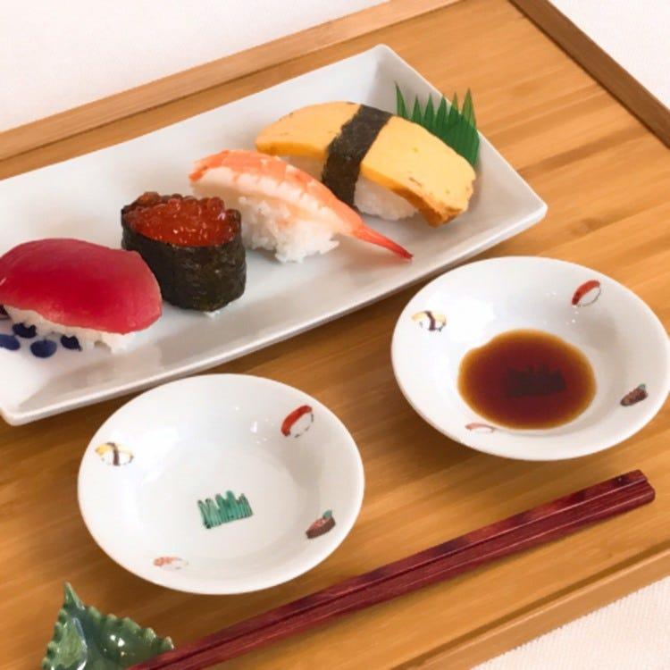 Kutani ware, Kutani Seiyo, Ran Horihata, sushi with colors, porcelain 9.3cm plate