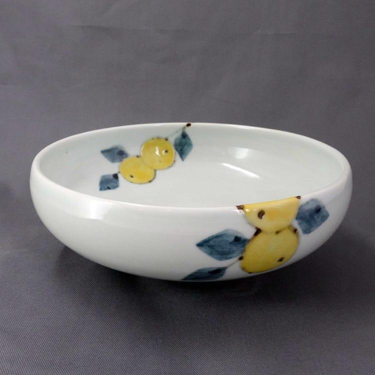Kutani ware, Kutani Seiyo, Yushin Tokunaga, mandarin orange with color, porcelain 21cm bowl
