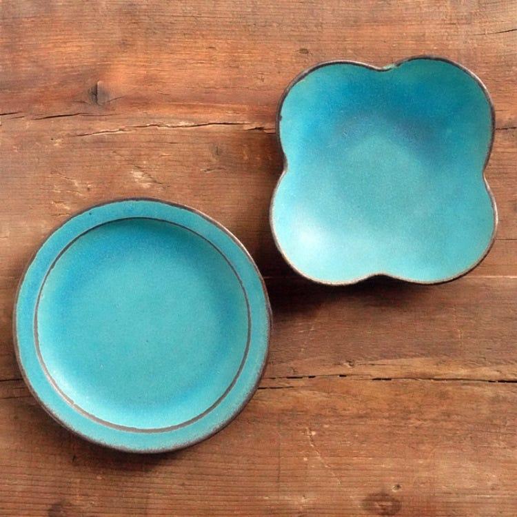 Mashiko ware Wakasamatougei, shabby turquoise, 16cm pottery plate, flower pottery plate