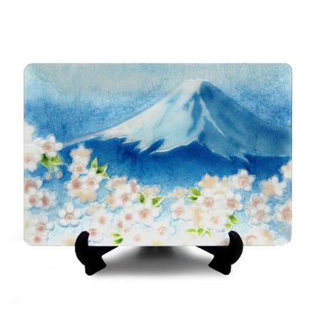 七宝 青富士桜 飾皿
