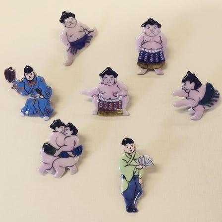 七寶 手工製造 大相撲 胸針