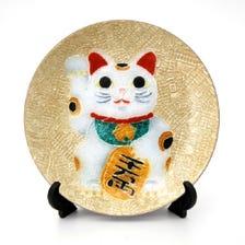 Cloisonne Japanese cat show plate
