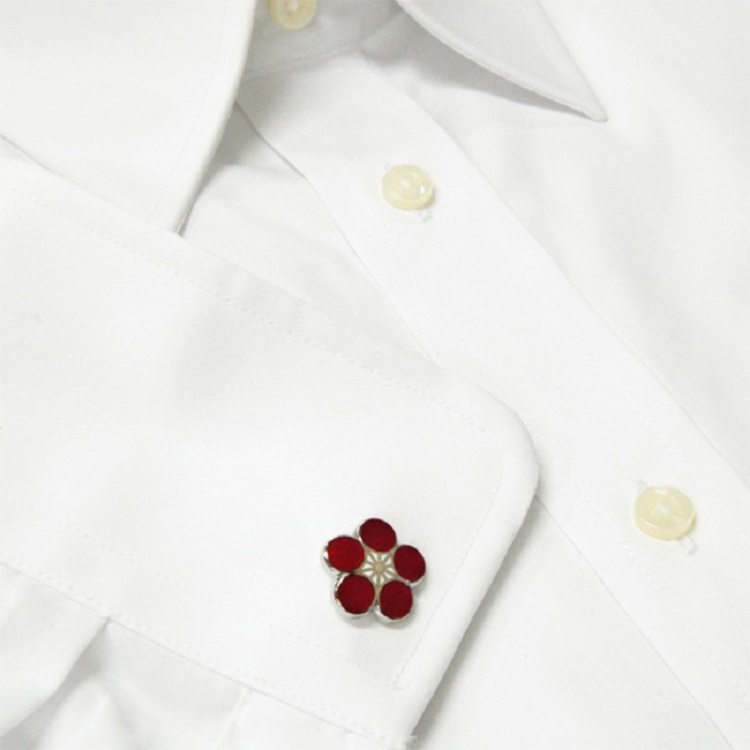 Cloisonne plum cufflink