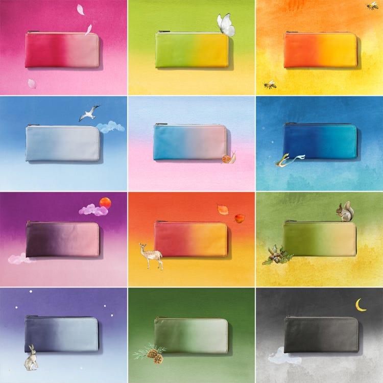 이로도리 엘 스타일 장지갑<br /> 사계절의 색깔을 표현한 슬림한 지갑