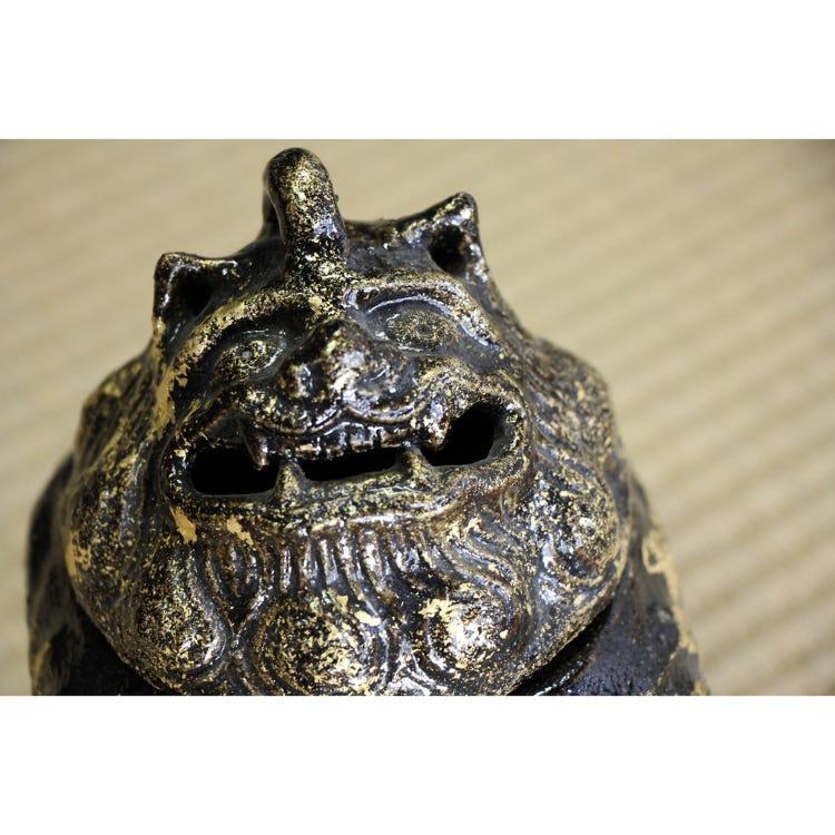 Black Raku Incense burner Shi-Shi