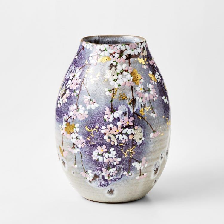 Flower vase / pot (with cherry blossom design)