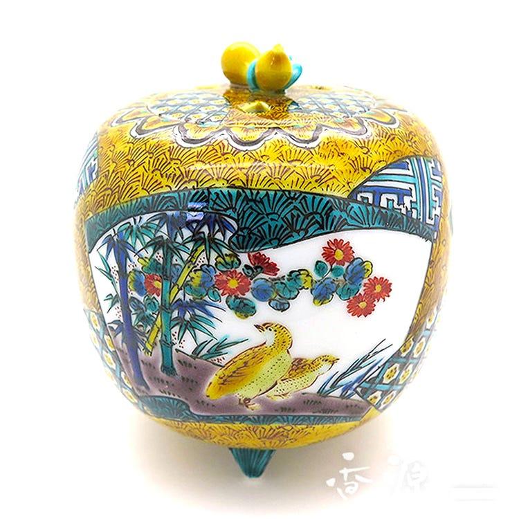 色繪瓷器的頂級傑作與令人無比鍾愛的九谷燒 3.5號香爐 古九谷花鳥