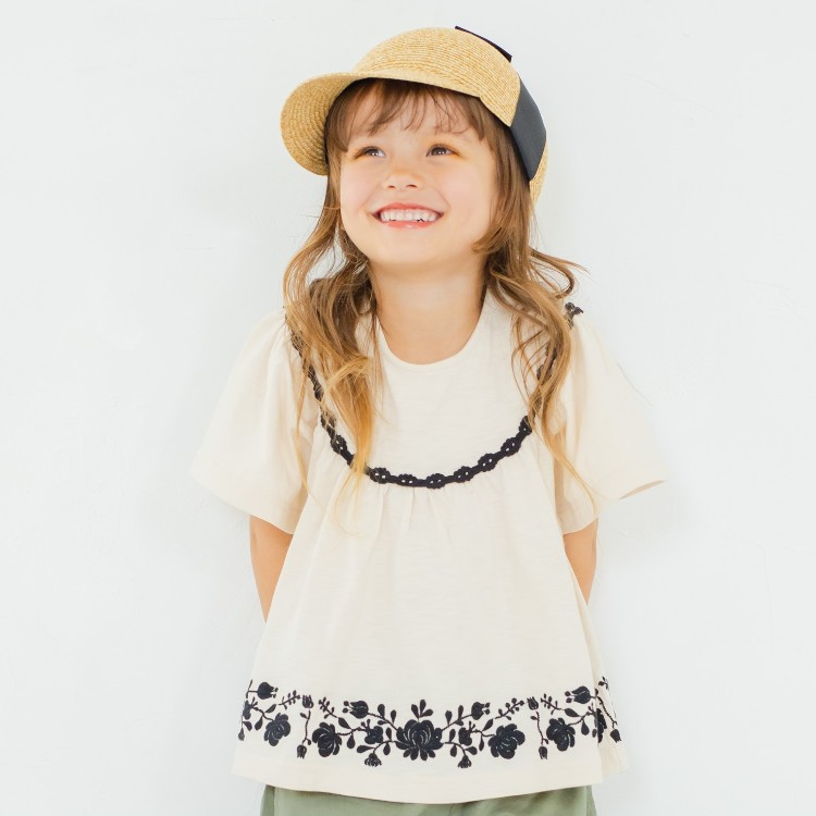 Embroidered gathered short sleeve T shirt