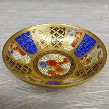 Kiyomizu ware sake cup<br /> The color print is gorgeous. A rare gem.