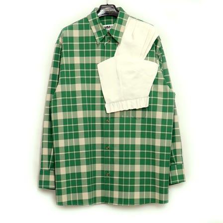 MM6 / MM CHECK SHIRT / size38 / GREEN CHECK
