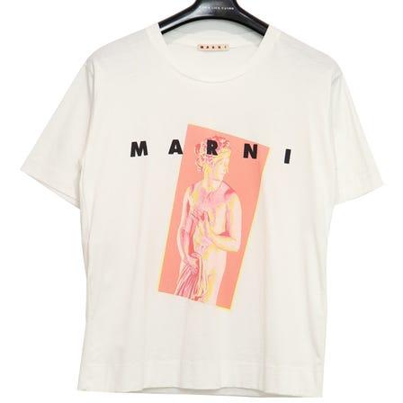 MARNI / S/S CREW NECK T-SHIRT AFRODITE JERSEY / size40 / LILY WHITE