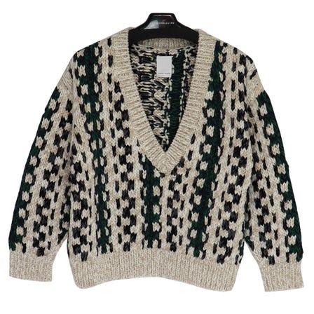 YOHEI OHNO / YO Jacquard Stripe Sweater / size36 / GREEN