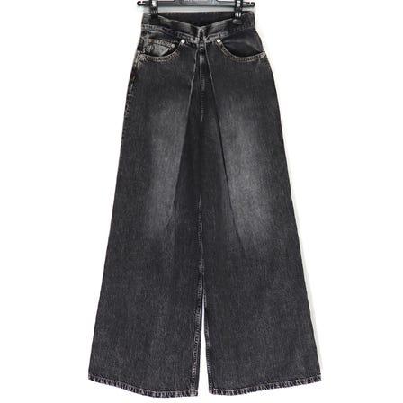 JOHNLAWRENCE SULLIVAN / JLS WASHED DENIM WIDE PANTS / sizeS / BLACK