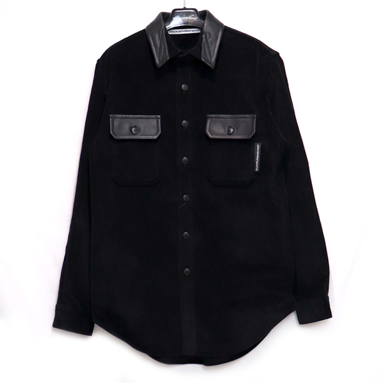 alexanderwang / AW SOFT CORDUROY BUTTONDOWN SHIRT / size:M / BLACK