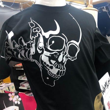 WAMON 剪纸T恤 银色骷髅图纹