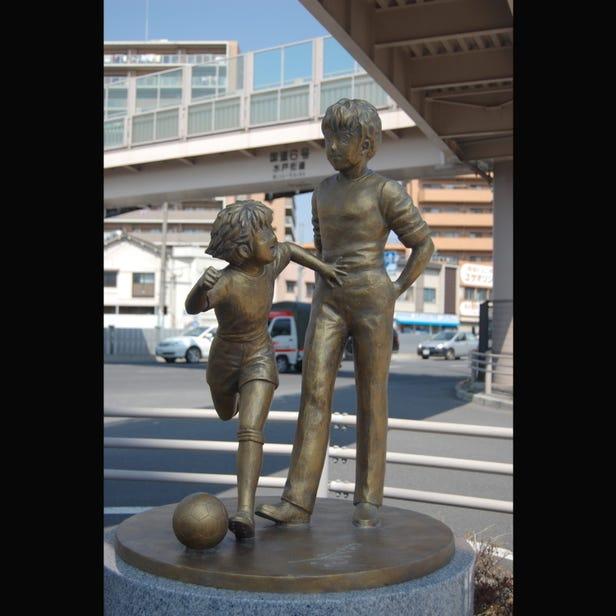 Captain Tsubasa Roberto Hongo and Oozora Tsubasa Statue