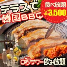 テラスで韓国BBQプラン3500円税込