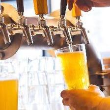 クラフトビールは週替わりで9種類! 国内の醸造所から厳選し、樽生でご用意しております!