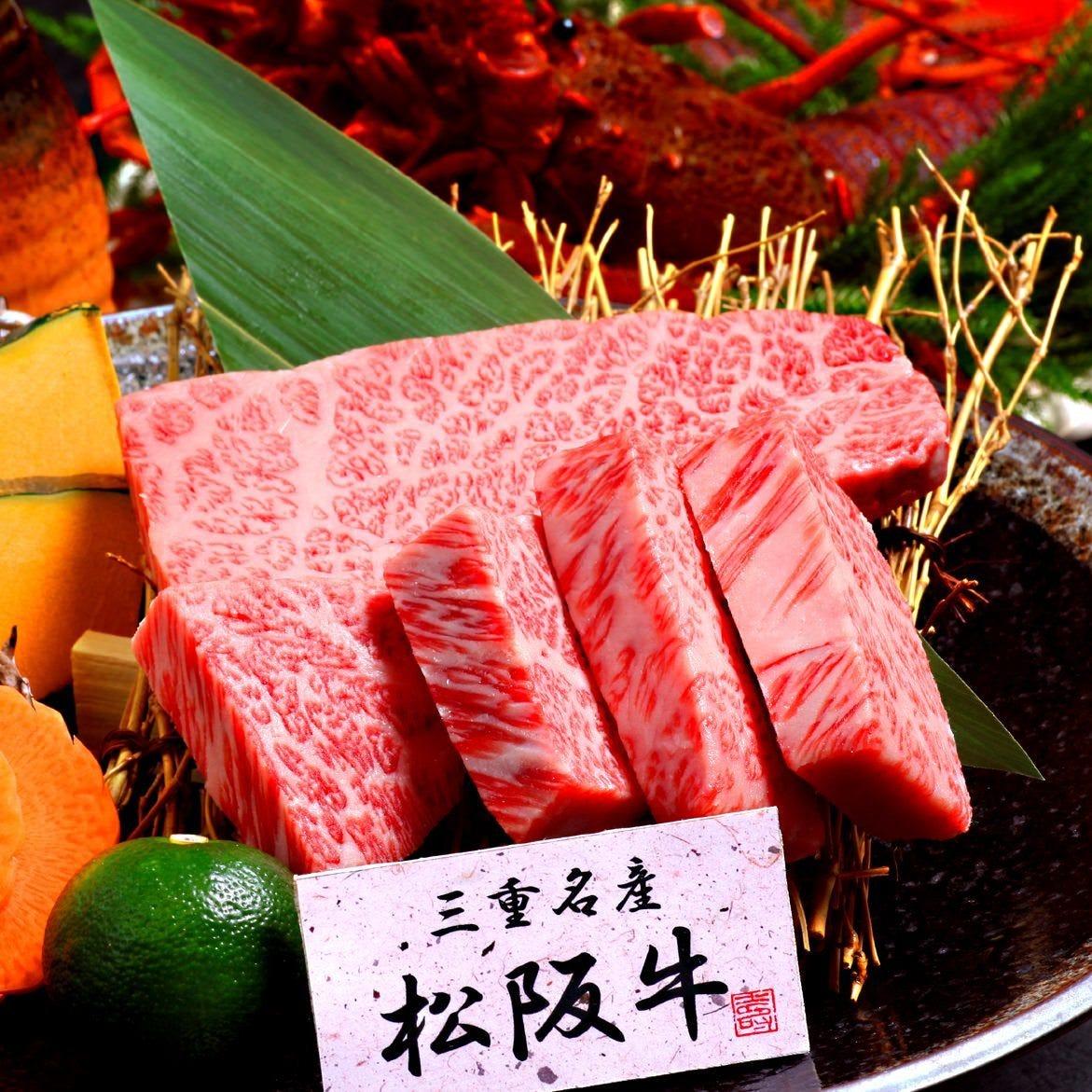 【特選松坂牛とタラバ炙り・刺身8点盛アンコウ鍋コース】6000円