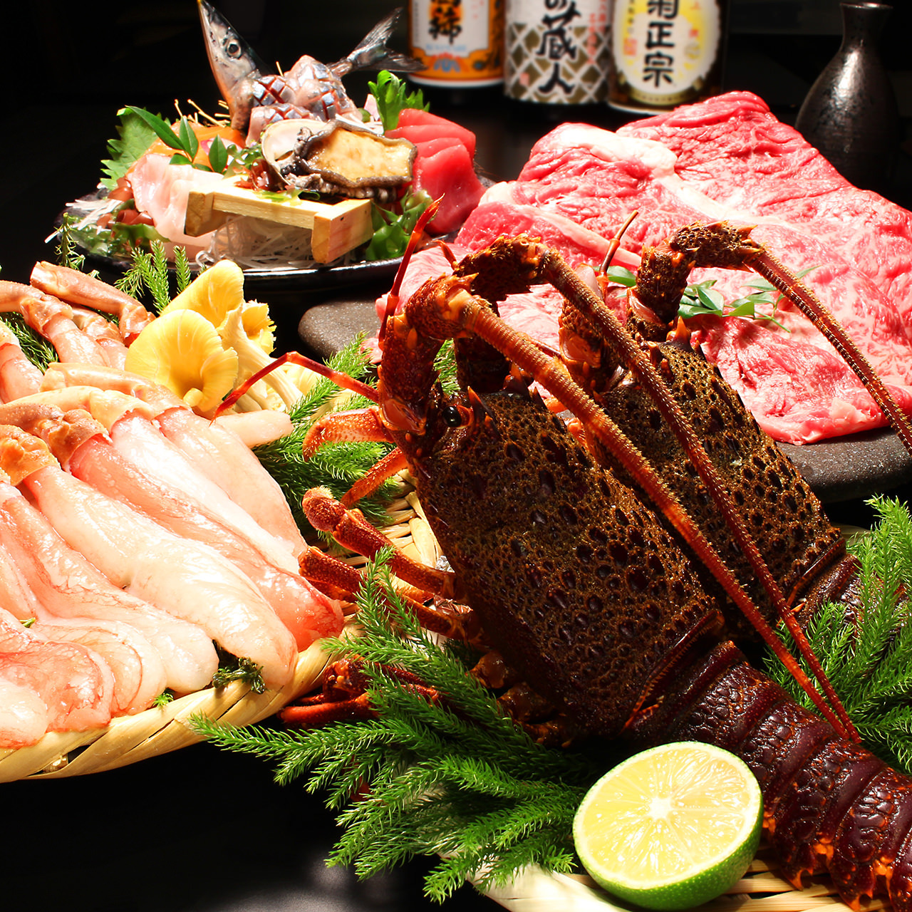 【蟹しゃぶ・活アワビ刺身・伊勢エビ炙り和牛炙りコース】5000円