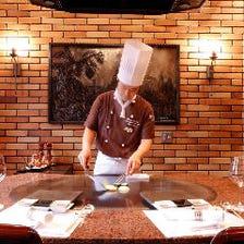個室で専属シェフが目の前で調理