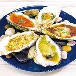 焼き牡蠣5種盛り合わせ