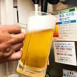 もんじゃにもお好み焼きにも、冷えたビールは相性抜群!