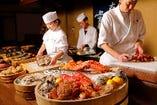 豊富な北海道産食材を目の前で眺める。