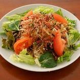 梅ちりめんの赤しそ大根サラダ
