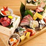 社長盛り、部長盛り、課長盛りの三種から選べるお造り!! カウンターのお客様はちょっとテーブルいっぱいいっぱいになりますが・・・!! そのボリューム感を存分にお楽しみください!!