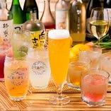 ビールやワイン、特製サワーなど種類豊富に取り揃えた飲み放題