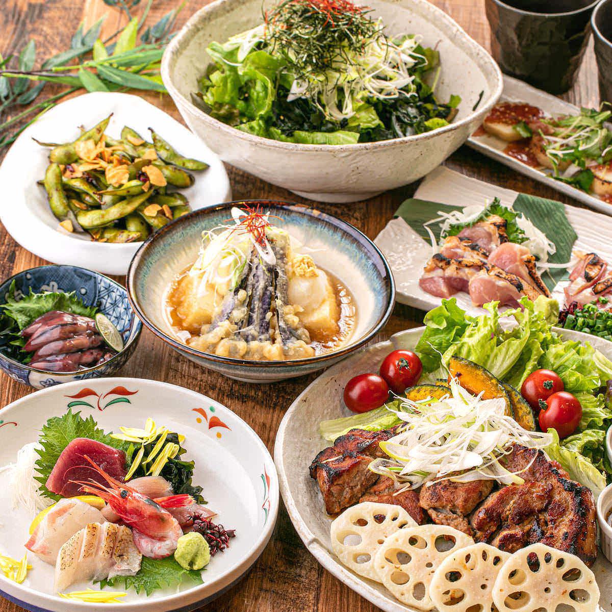 【雅コース】鮮魚の二種盛りやメインは豚バラ肉の1本焼き 2.5時間飲み放題 全8品 3500円 宴会に◎