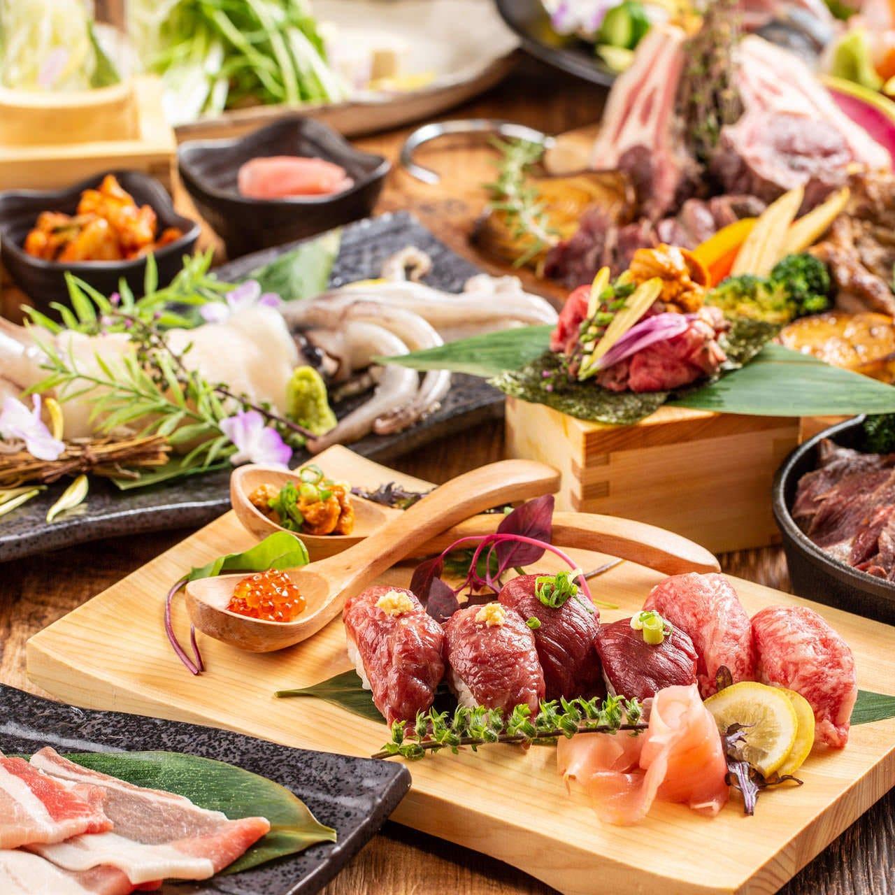 【最高級を食す。極みコース】贅沢!まぐろのレアステーキや和牛の炙り寿司 3時間飲み放題付 全9品 5000円