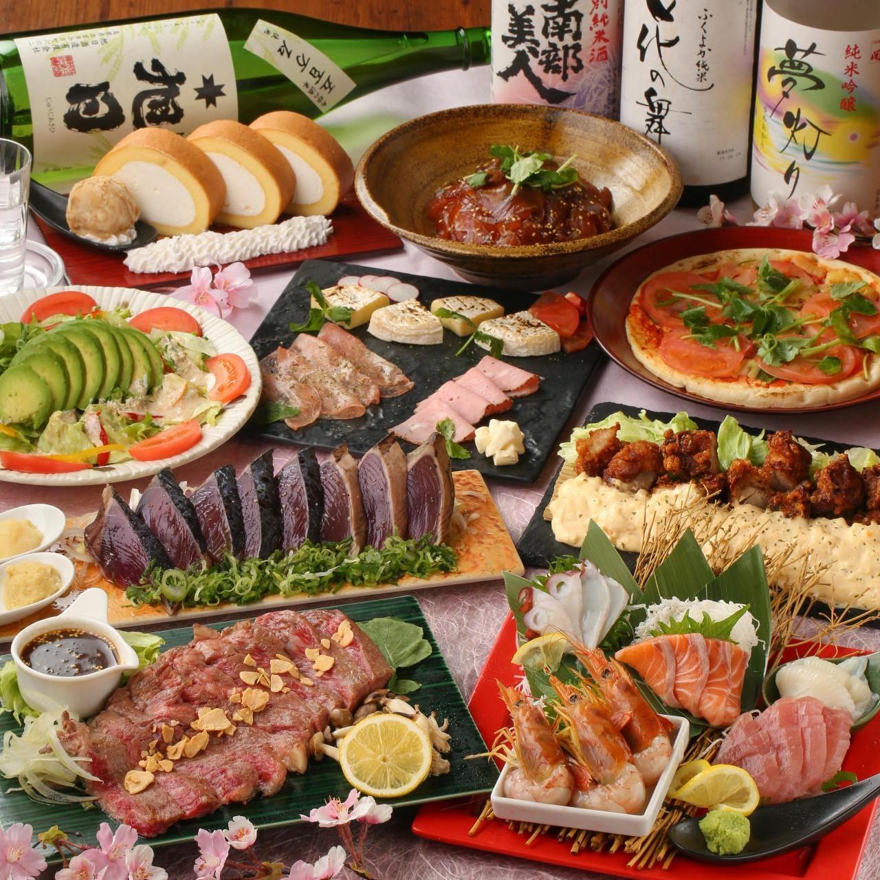 うにく寿司、牡蠣の天麩羅、藁焼き牛モモ等10品◇3時間プレミアム&日本酒飲放付『琥珀コース』