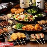 串焼盛り合わせに、いわい鶏を使ったMOJAの唐揚げ付きの人気コース。