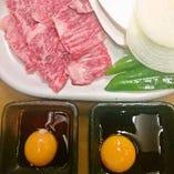 <やきすき> 生卵が入ったタレで召し 上がれ♪