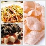 ピータン豆腐/豚耳の冷菜/エビせん/味付けモヤシ